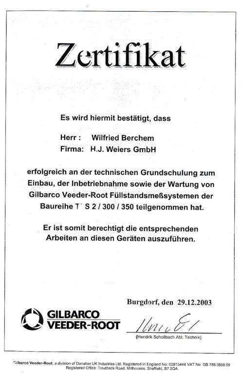Zertifikat Wilfried_VeederRoot_2003