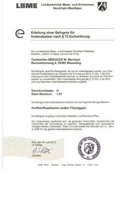 Zertifikat Eichbefugnis