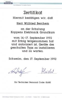 Zertifikat Wilfried_Schlumberger_1992