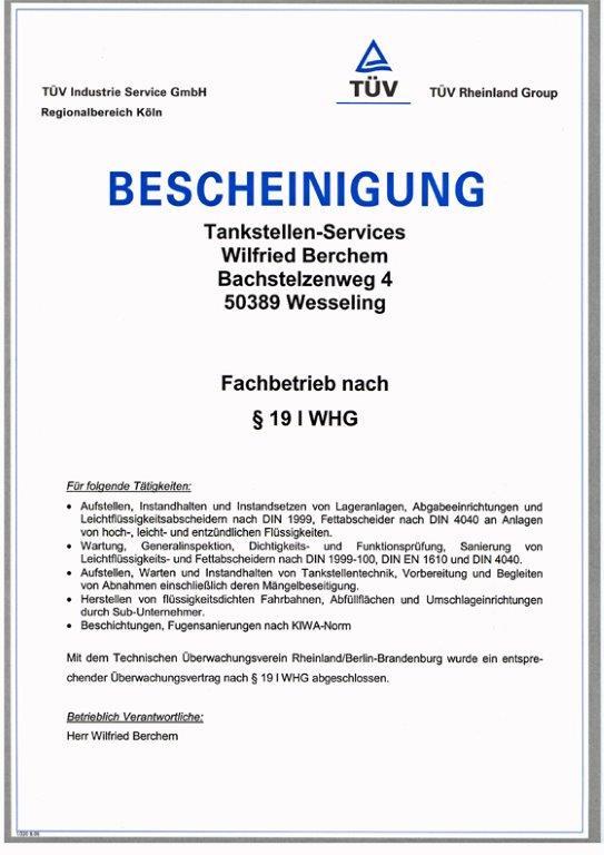 Zulassung als Fachbetrieb nach WHG 1