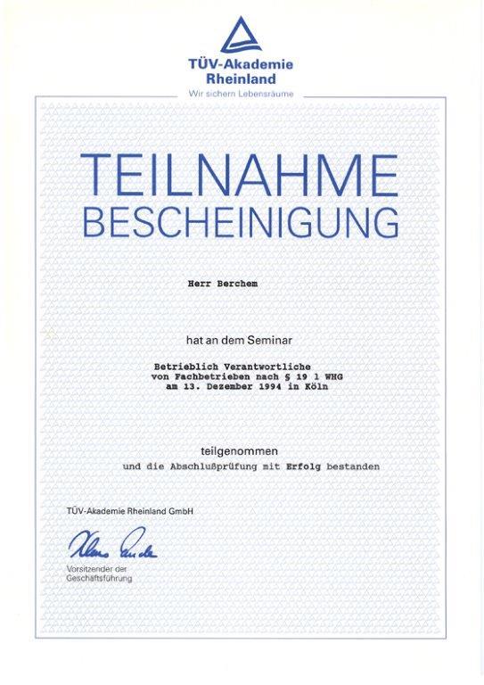 Bescheinigung für Betrieblich Verantwortliche §19 WHG